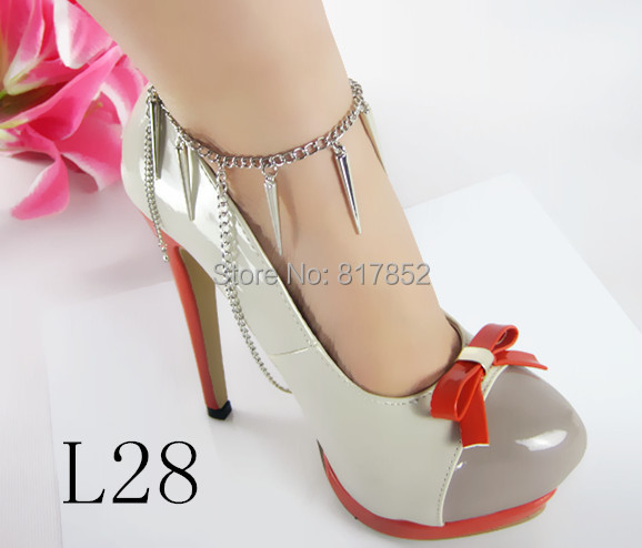 FREE SHIPPING STYLE L28 Women Small Rivets Chain Silver Ankle Chain Jewelry 2 colors