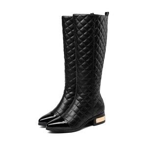 Image 2 - MORAZORA grande taille 34 45 chaude 2020 nouvelle haute qualité genou bottes automne hiver mode cuir bottes femmes moto bottes