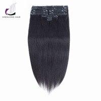SHENLONG HAIR Malaysian Remy Hair Weaving 100 Human Hair Clip In Hair Extensions 1B 9Pcs Set