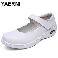 YAERNI 2017 Four Seasons Mary Jane Woman Pure White Nurse Shoes Women Platform Soft Air Cushion