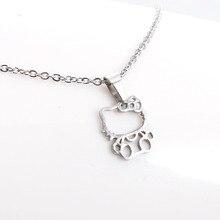 1 шт., модное новое ожерелье из нержавеющей стали, Милая Открытая подвеска в форме кошки для девочек, эффектное ожерелье, подарок на удачу