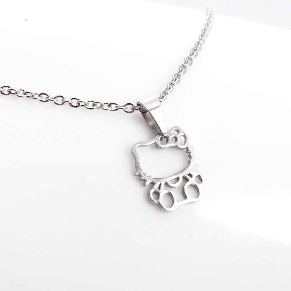 1 PC Fashion Baru Stainless Steel Kalung imut Hollow Out Kucing Kitty Liontin Anak Perempuan Chokers Kalung Hadiah Beruntung