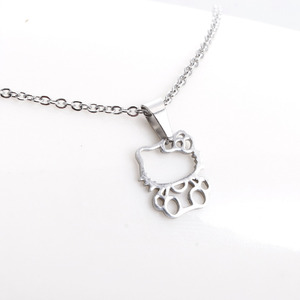 1Pc Fashion New Stainless Steel Necklace,Cute Hollow Out Kitty Cats Pendant Kids Girls Chokers Statement Necklace Lucky Gift