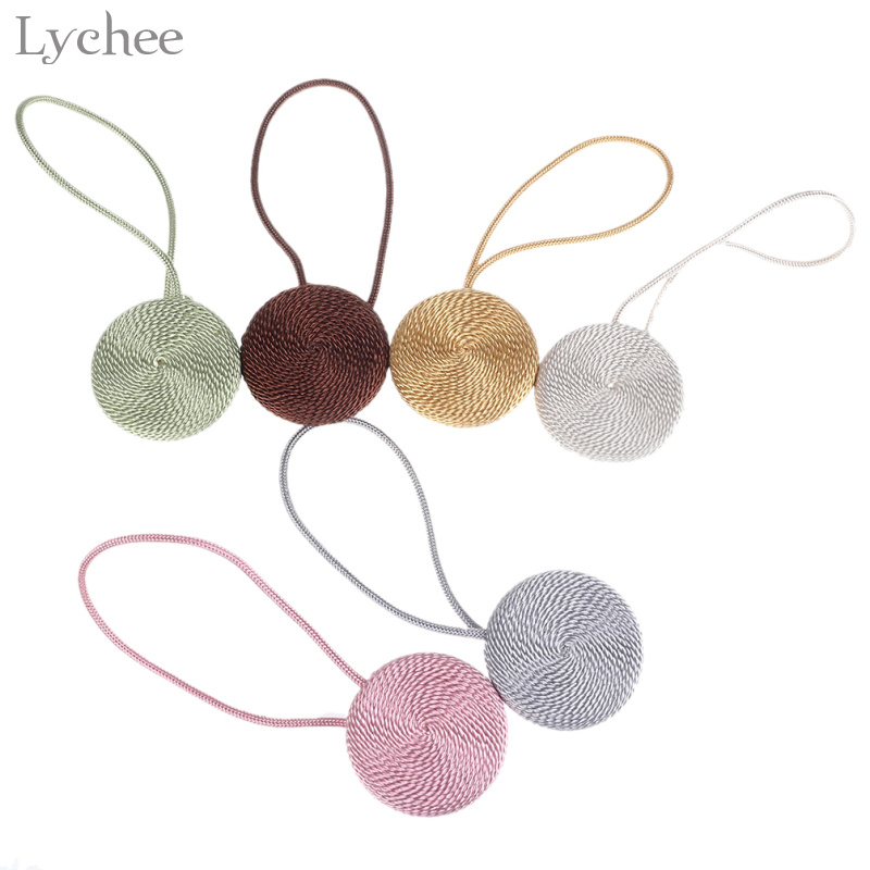 Lychee Braided Round Curtain Buckles Europe Style Magnet Curtains Tieback Magnetic Curtain Holder Strap Accessories