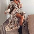 Недавно Для женщин с v-образным вырезом с принтом букв Длинные вечерние пляжные пикантные вилка открытие печатных платье VK-ING