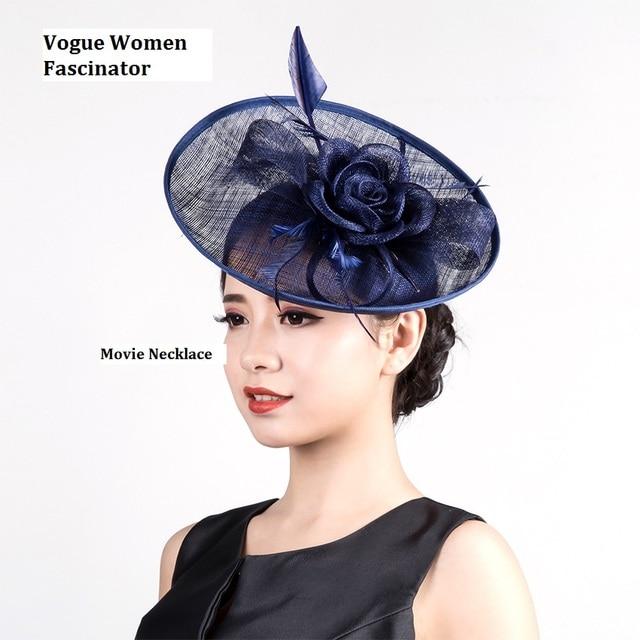 2016 Navy Blue Beige Classic Sinamay Fascinator Flower Headpiece Hair Clip  Women Wedding Hat Hair Headband For Cocktail Parties e41dacb25d3