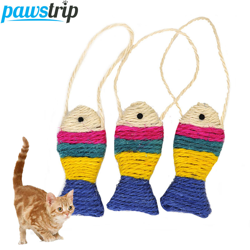 Pawstrip 3pcs/lot Interactive Pet Cat Toys Hanging Fish Design Sisal Cat Scratch Board 12*5.5cm