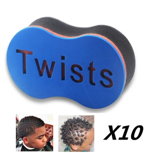 Image 1 - 10pcs Twist Magic Hair Spugna Afro Bobina Onda Arricciatura Dei Capelli Pennello Spugna Strumento di Barbiere Terrore Afro Locs Spugna Spazzole capelli Salone di Alimentazione