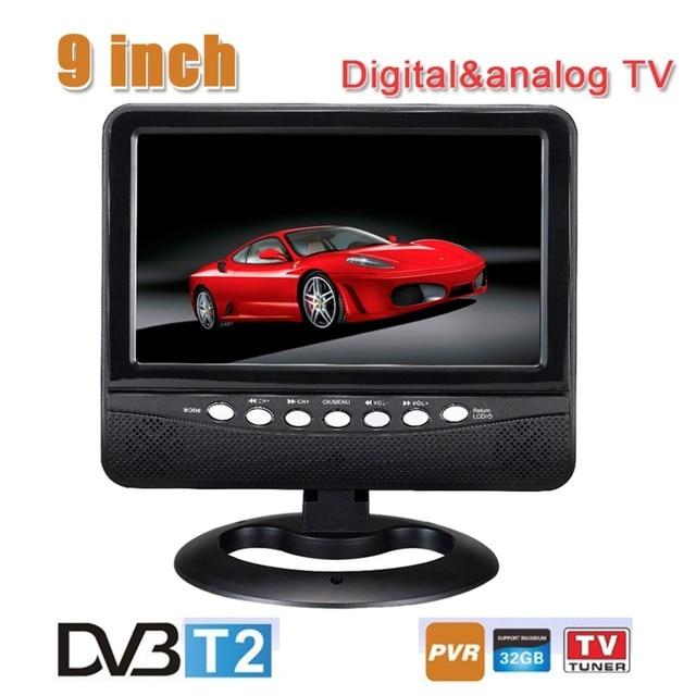 9 inch 16:9 TFT DVBT2/DVBT Digital & Analog Mini led Portable Car TV all in 1 Support USB Record TV Program