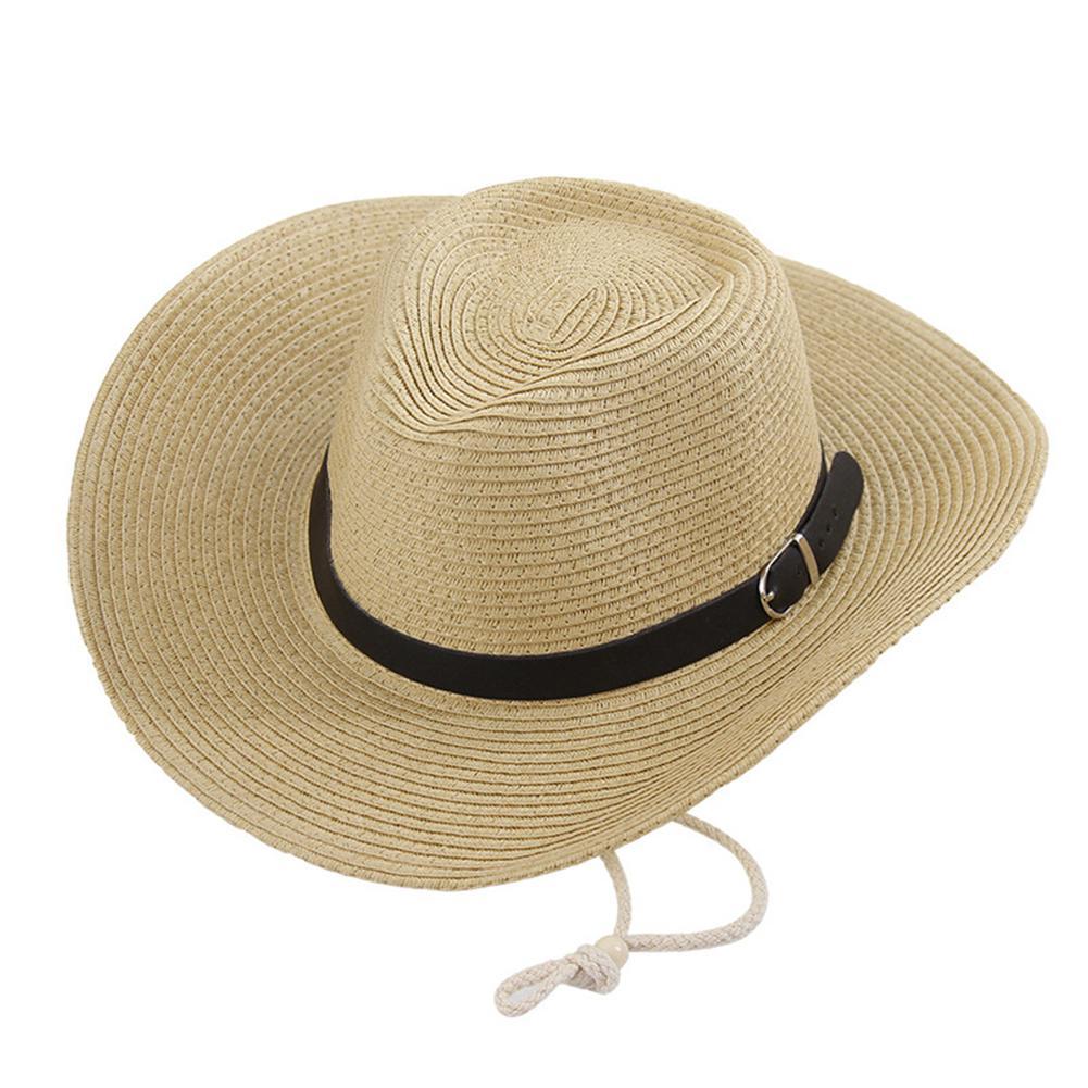 Helpful Straw Western Cowboy Hats Made Stylish Cowboy Hat Beach Uniex Bie Brims Sun Hat Khaki 5 Colors Sun Protection Hat San0