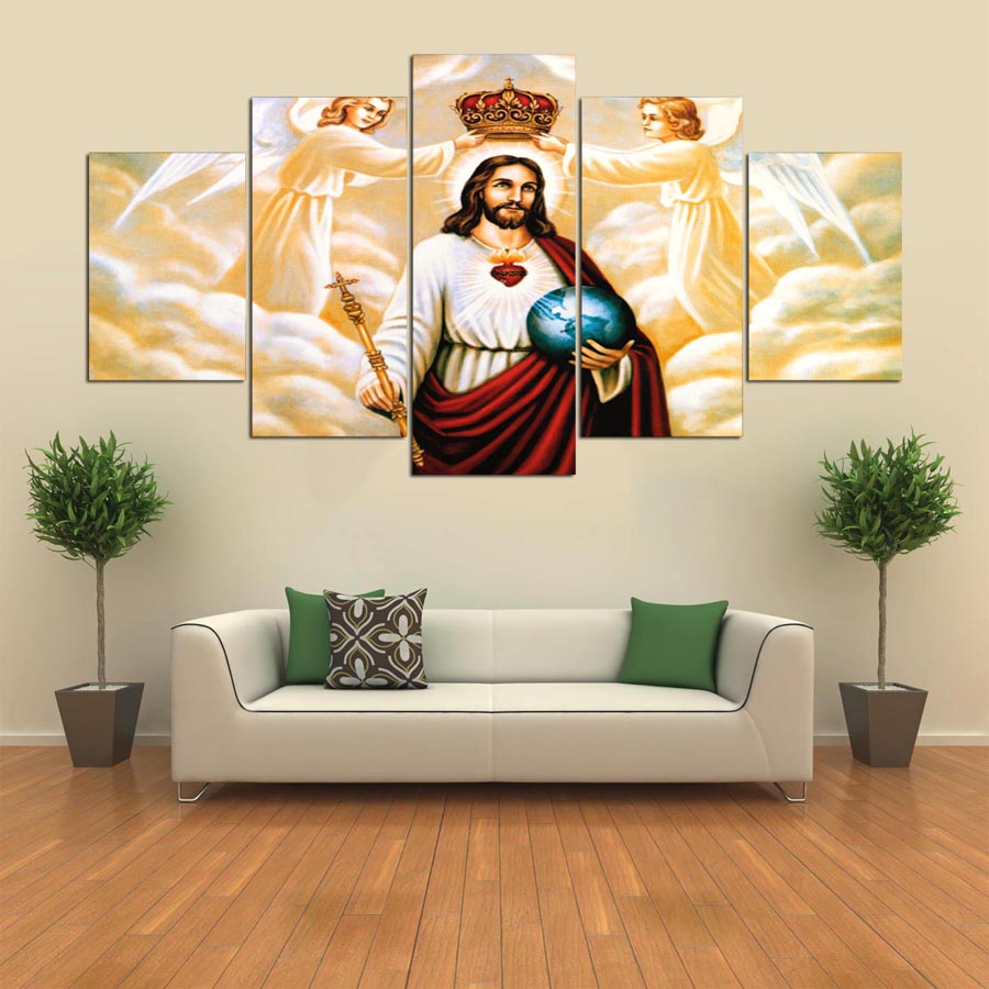 Leinwand Wandkunst Modulare Rahmen Bild Landschaft 5 Panels Jesus ...