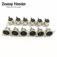 10 pçs metal 3 4 5 6 7 8 pinos din fêmea soquete embutido montagem em painel chassi conector ferro de solda