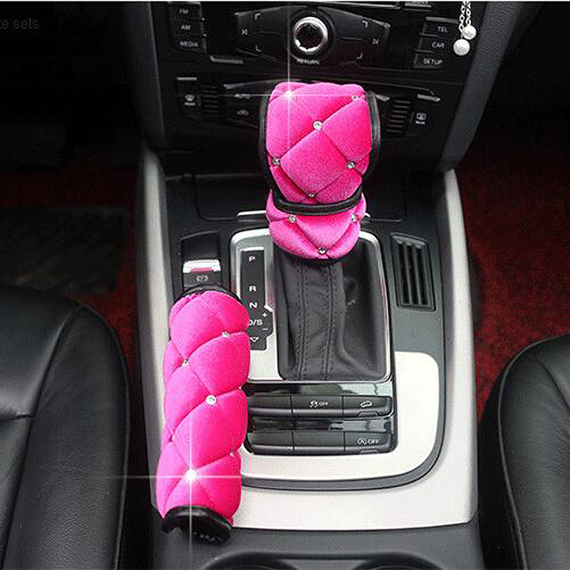 1set High Quality Crystal Soft Plush Car Handbrake Grips Covers Gear Shifter Hand Brake Case Set Auto Interior Accessories