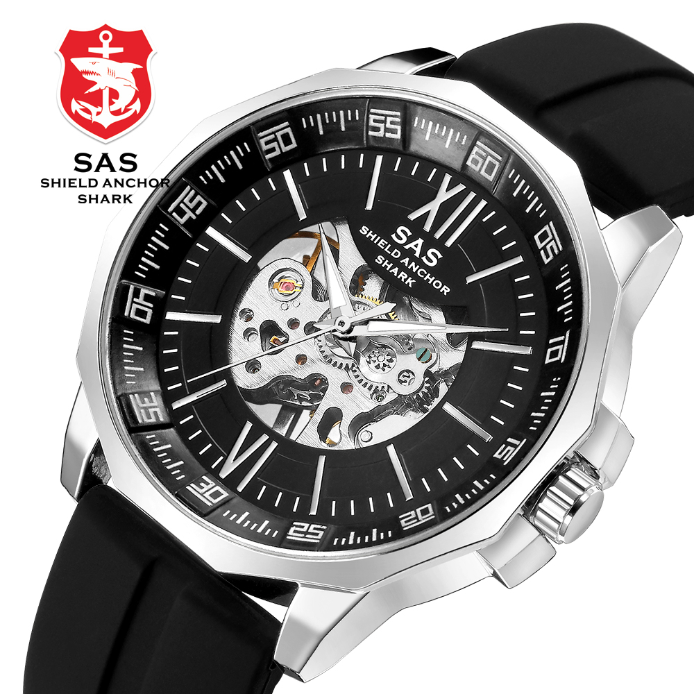 Moda Silicona Tiburón Negra Relojes Sas Mecánicos De Reloj Esqueleto Correa Ancla Shield Militar Hombres Hueco Pulsera Dial Deporte b6Imf7vgyY