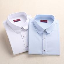 Dioufond белая женская блузка, одноцветная, с длинным рукавом, школьная рубашка, для работы, плюс размер, женские блузки, хлопок, синяя рубашка, 5XL, женская одежда
