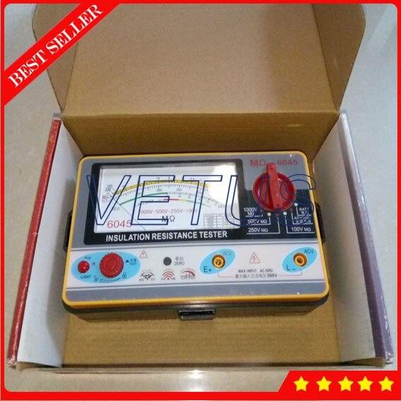 TY6045 Electrical Resistivity Measuring Instrument Pointer Resistance Tester Meter 1000V-500V-250V-100V Analog Insulation TesterTY6045 Electrical Resistivity Measuring Instrument Pointer Resistance Tester Meter 1000V-500V-250V-100V Analog Insulation Tester