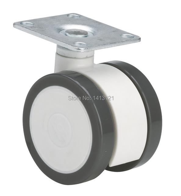 Frete grátis plana do rodízio do PLUTÔNIO rodízio de móveis de plástico Cheio sem freio universal roda giratória Equipamento Médico Instrumento