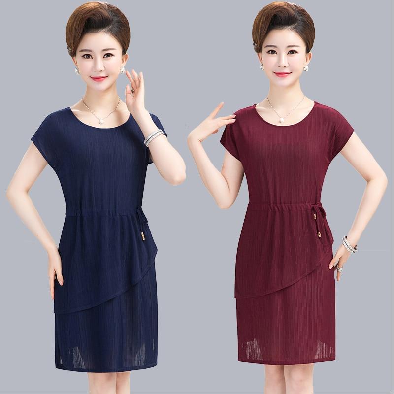 Brieuces Summer Woman Chiffon Dress Round Neck Short Sleeve Loose Mid-length Plus Size S-5XL