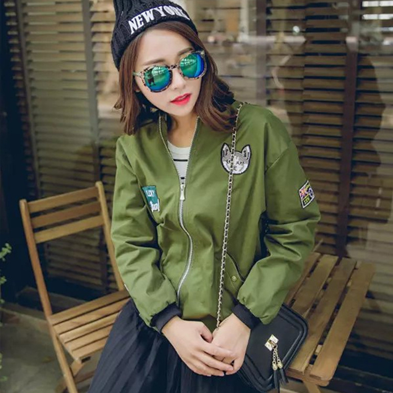 women bomber jacket basic coats and 2017 female coat flight suit casual women coat embroidered patch women jacket coat