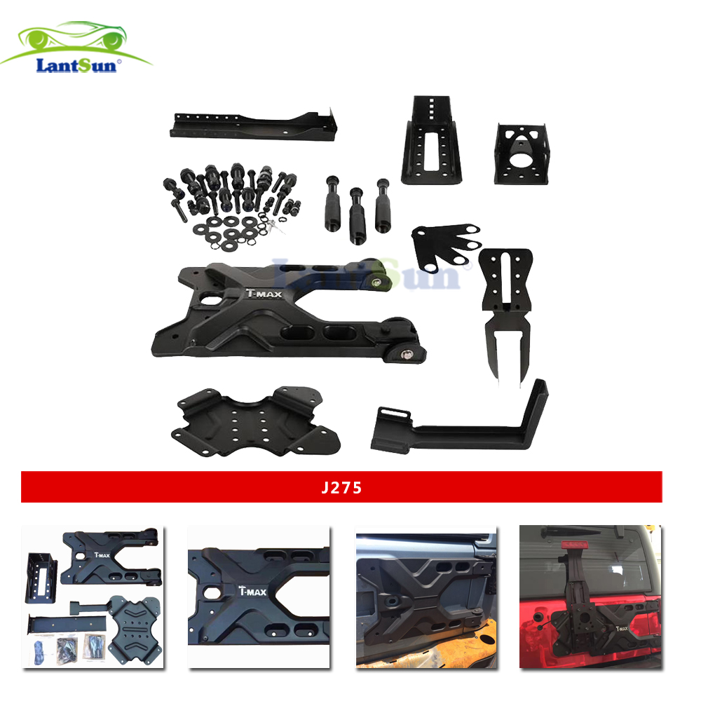 Set J275 lantsun black aluminum HD Hinged Carrier & Adjustable Tire Mounting Kit for jeep wrangler jk 07+ pair j078 lantsun black hood locking catch kit for jeep wrangler jk unlimited