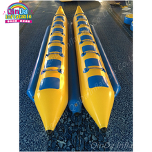 Giant 0.9mm PVC inflatable banana kayak boat,double fishing sport jet boat,flying towables banana boat for 16 persons