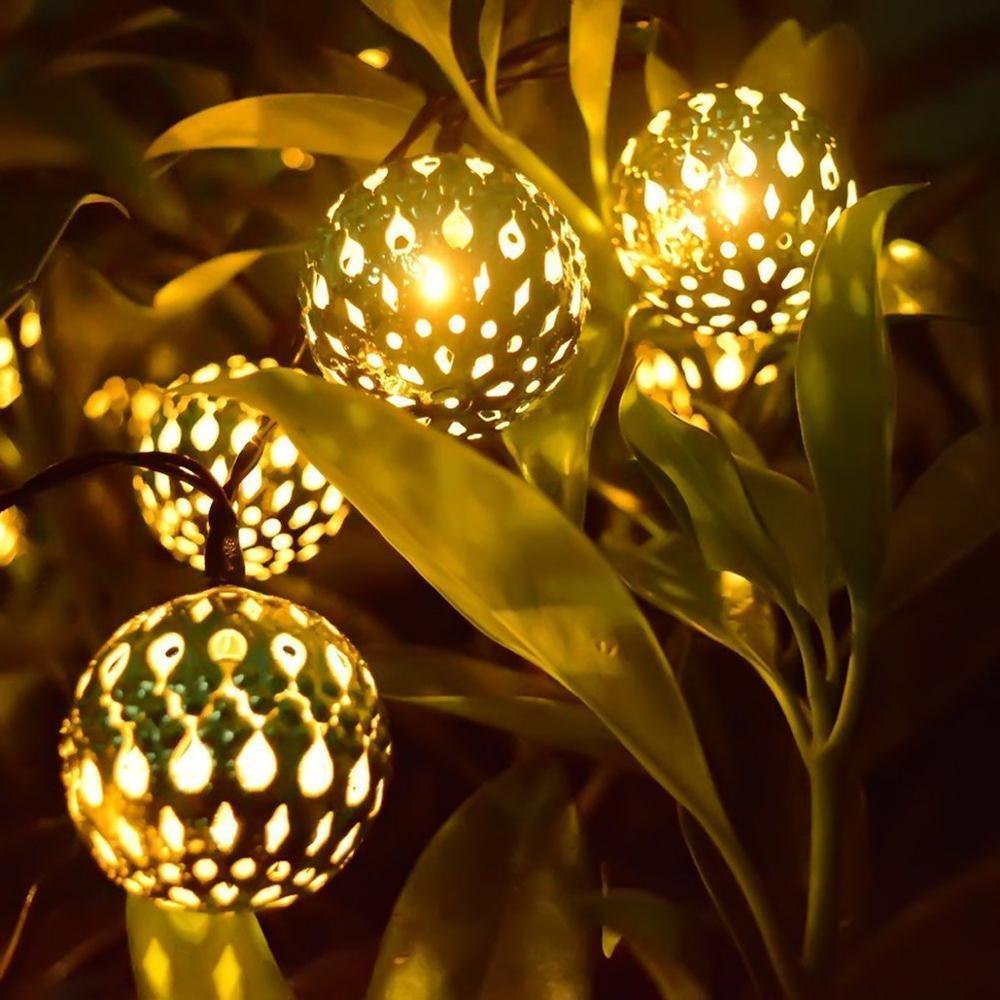 Outdoor Solar LED Patio Lights Moroccan Ball Lantern Fairy Light Chain Waterproof String Lights Golden Silver Garden Lamp Ball