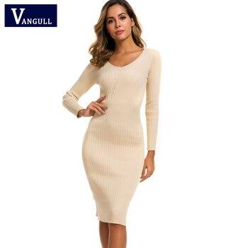 Vestido de punto Vangull de algodón de otoño para mujer, manga larga, funda con cuello en V, vestido de media pantorrilla, invierno cálido, Jersey ajustado, suéter, vestido