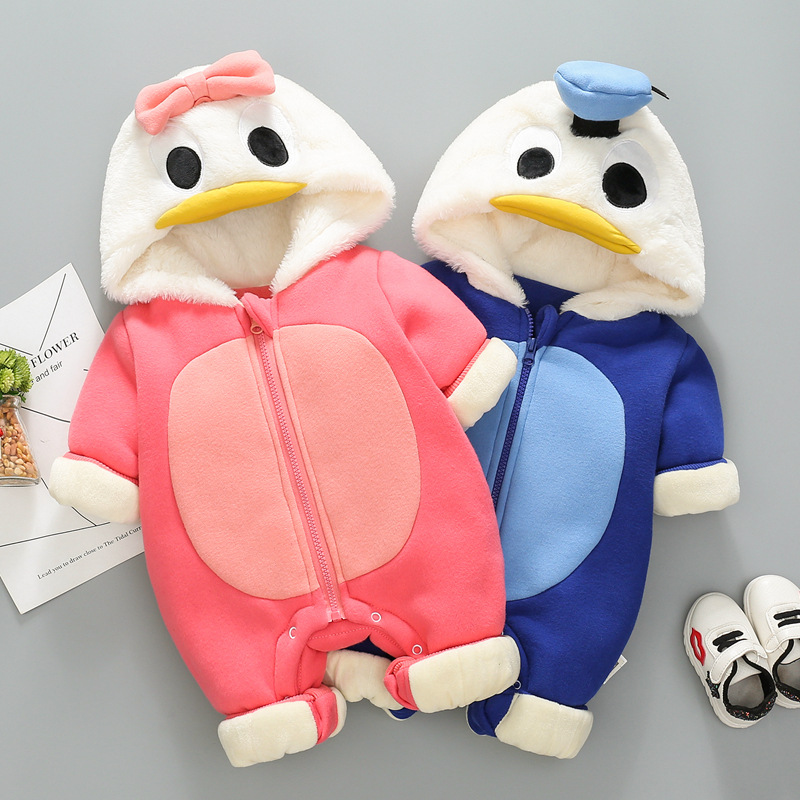 Baby winter rompers 2018 new baby cotton cartoon plus velvet padded jumpsuit newborn clothes velvet skinny jumpsuit