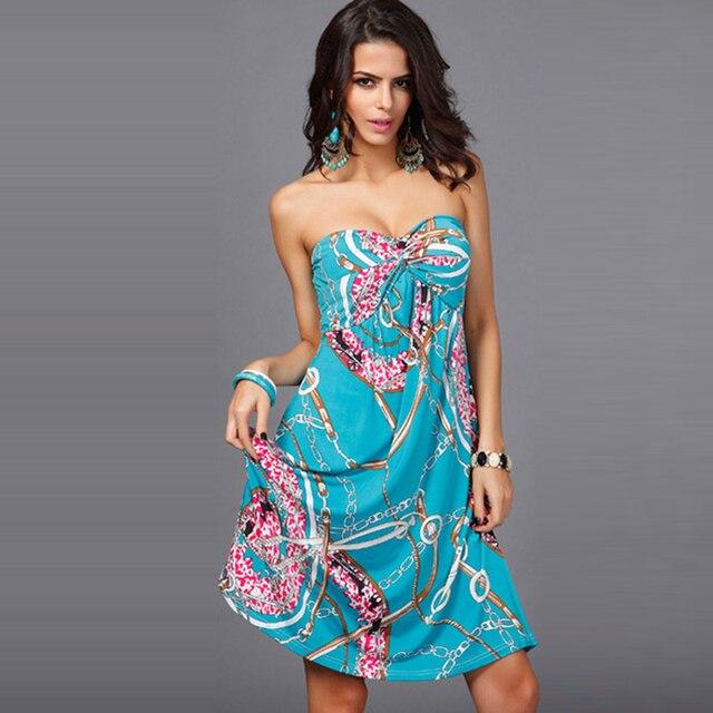2017 Summer Women Knee Length Dress S Y Strapless Backless Bohemian Dresses Ethnic Printing Las Vestidos