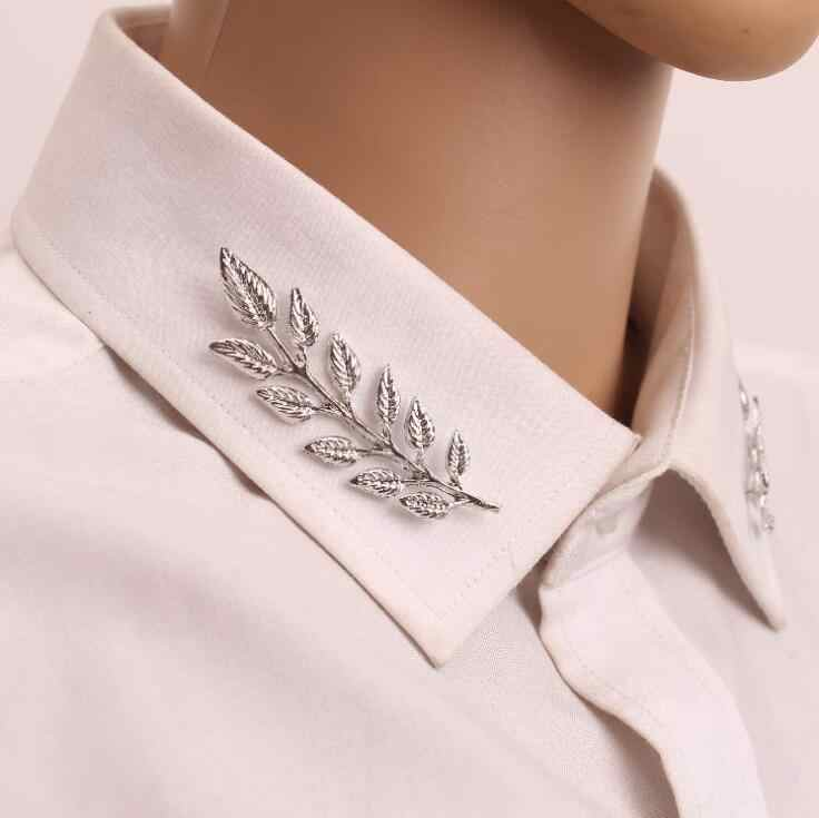 2 pcs/1 lots 2018 New Wedding Jewelry Suit shirt Collar Pin Gold Silver gold Leaves Brooches Pins For Women lady best gift