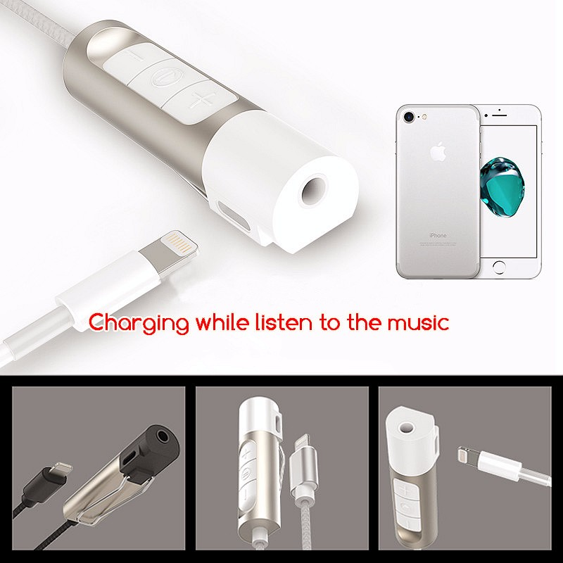 7 Plus 2-in-1 Earphone Audio+Charger Adapter For iPhone 7 Lightning to 3.5 mm Headphone Jack Cable w Volume Adjustment  Button (4)