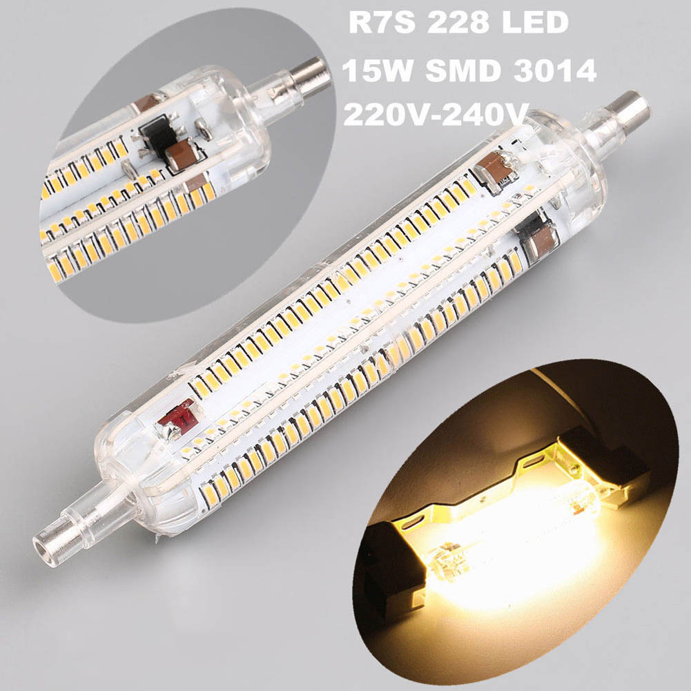 R7S-3014-228 15W 118mm LED Corn Bulb Light 360 Lighting Spotlight Replace Halogen Lamp Floodlight --M25