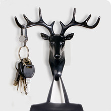 Small Plastic Wall Rack for Living Room Hat Bag Key Jewelry Rack Deer Head Decor Hook Organizer(China)