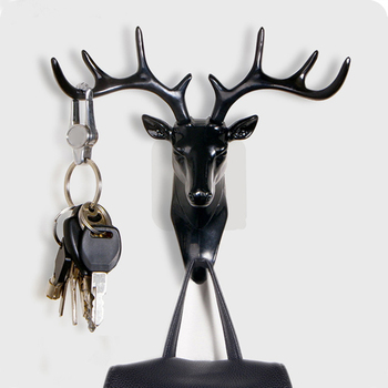 Small Plastic Wall Rack for Living Room Hat Bag Key Jewelry Rack Deer Head Decor Hook Organizer image