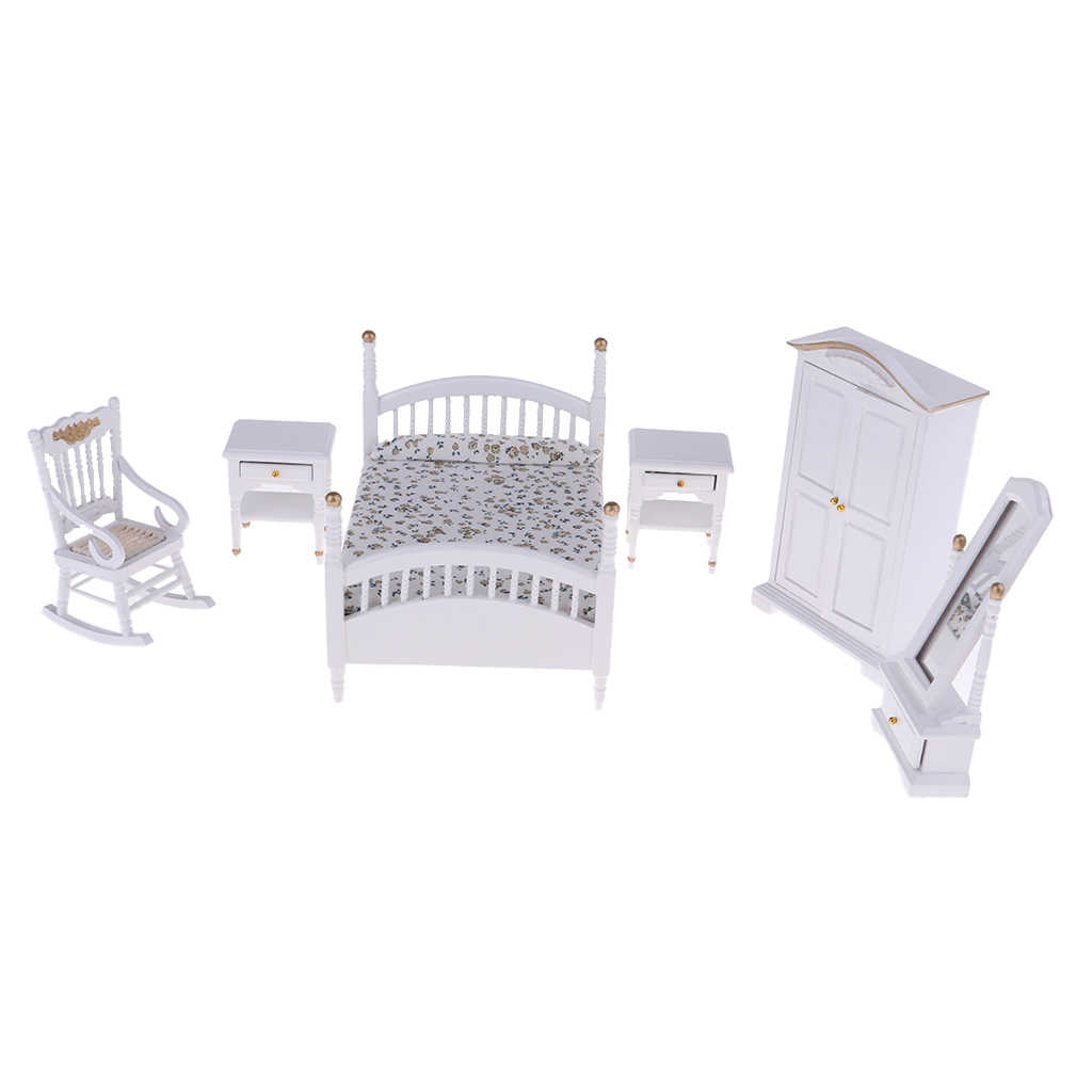 1/12 Dollhouse Bedroom  Furniture Kit Bed Cabinet Chair –White Double Bed Wardrobe Dressing Mirror Chair Table Set