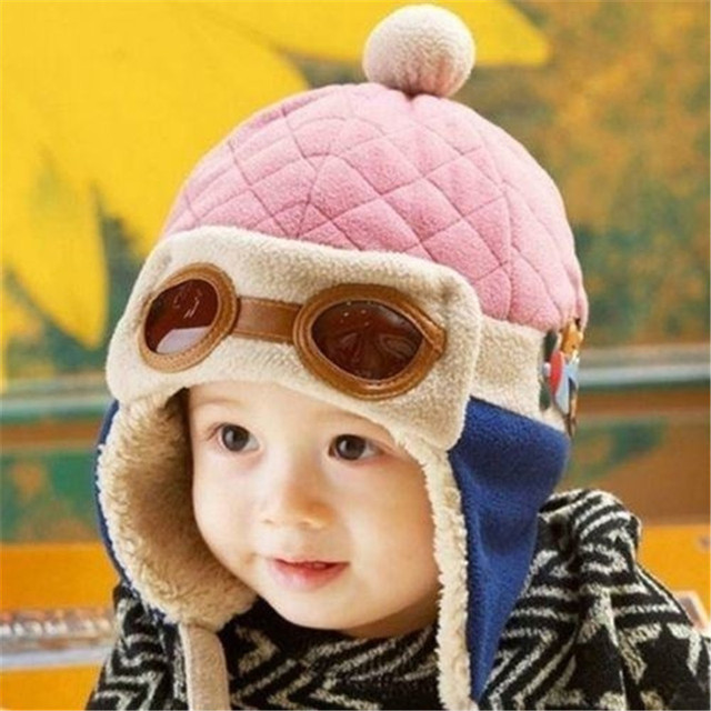 b9119163026 1 pcs New Arrival Winter Cool Kids Baby Toddler Boys Girls Pilot Cap  Aviator Warm Earflap Hat Beanie Hot sale