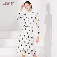 Jane Story 2018 Autumn Women Dress Long Sleeve Black Polka Dots Printed Lace Dress with Sashes Hollow Out Office Lady Dress