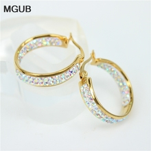 MGUB 2016 new stainless steel inner and outer rings classic jewelry crystal earrings earrings popular outstanding women LH129