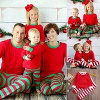 2018 Family Matching Red Green White Striped Christmas Pajamas PJs Sets Kids Xmas Sleepwear Nightwear