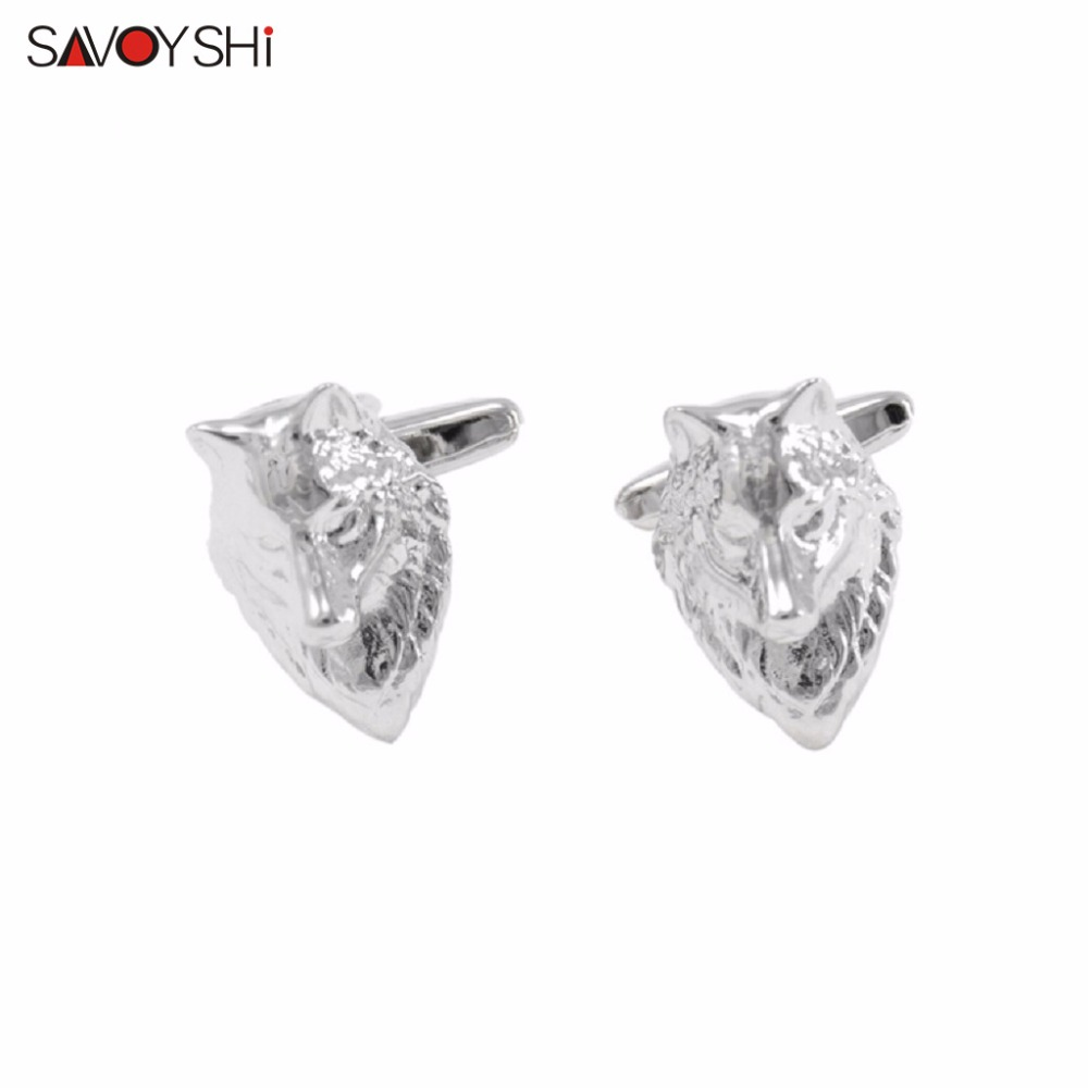SAVOYSHI <font><b>Wolf</b></font> Head <font><b>Cufflinks</b></font> for Mens Shirt Cuff nails High Quality Novelty Silver Color Animal Cuff links Fashion Brand Jewelry image