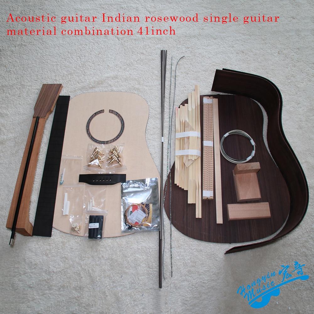 41inch OM D Type Rounded Corner Acoustic Guitar DIY Kit African Mahogany Okoume Neck Rosewood Back Side Ebony Fingerboard