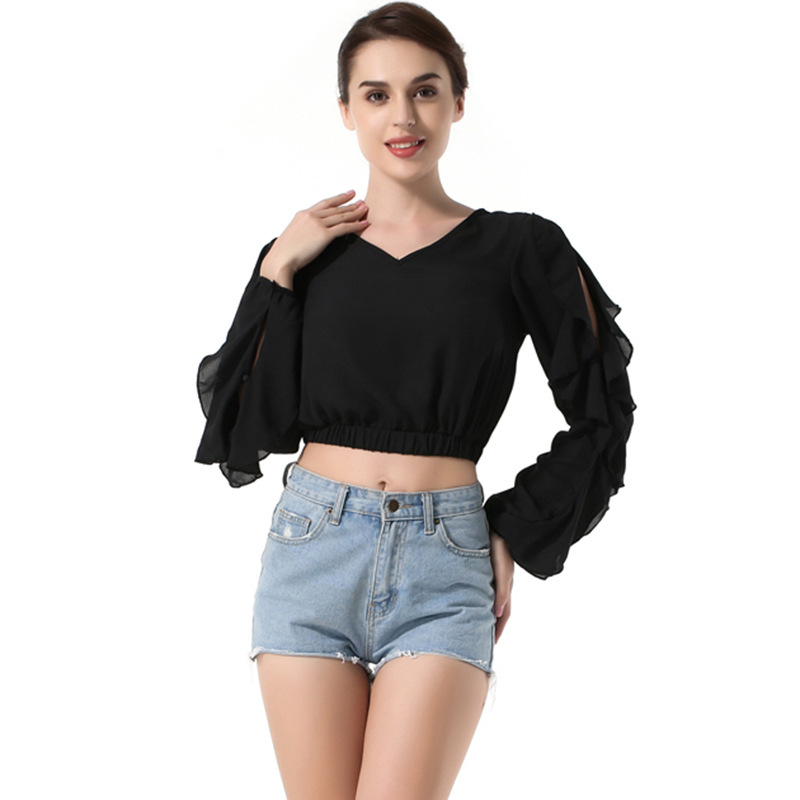 YSMILE Y Women Ruffles Sexy Short Shirt V-Neck Solid Chiffon Black White Blouse Exposed Party Personality Clothes For Female
