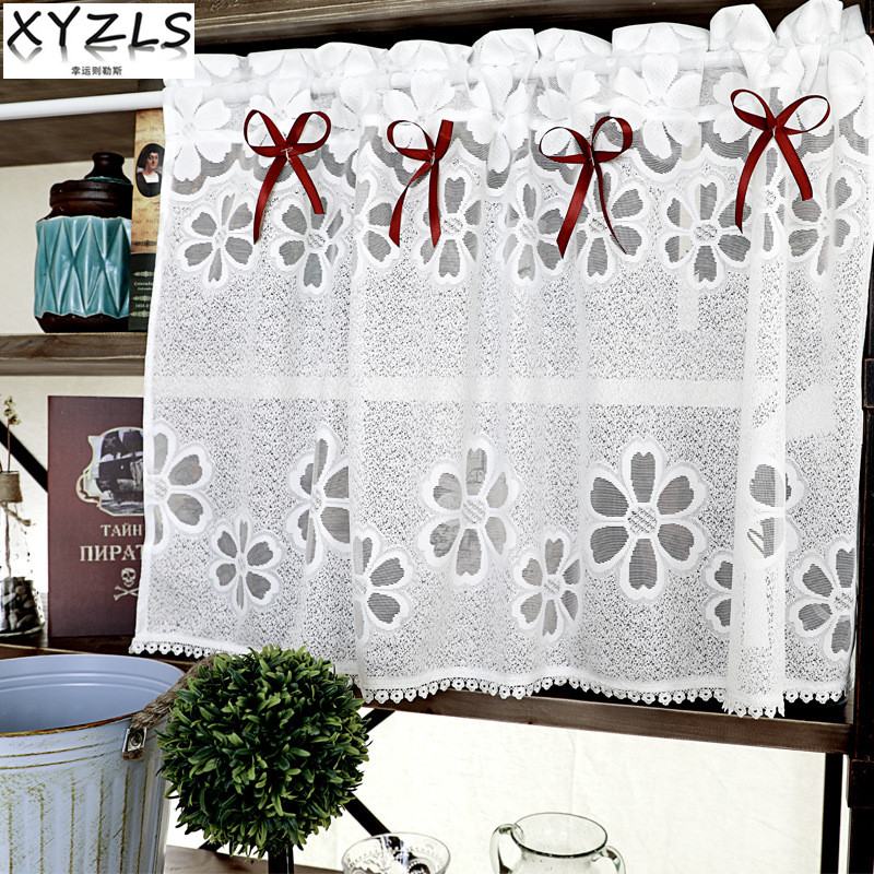 Kitchen Cafe Curtains Modern: 2018 XYZLS New Modern Embroidered White Lace Tulle Kitchen