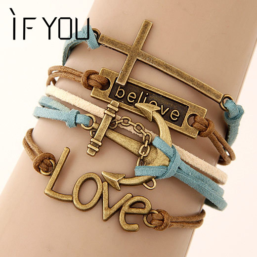 IF YOU Charm Vintage Multilayer Charm Leather Bracelet Women Owl Cross Beli..