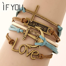 IF YOU Charm Vintage Multilayer Charm Leather Bracelet Women Owl Cross Believe Bracelets Cheap Statement Jewelry Lady Best Gift