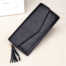 2017 Genuine Leather Hasp Zipper Long Envelope Wallet Tassels Concise Fashion Young Women ID Holders Zero Purse Credit  Card Bag