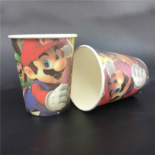 6pcs Super Mario theme paper cup cups tableware for kids birthday Party decoration drinking