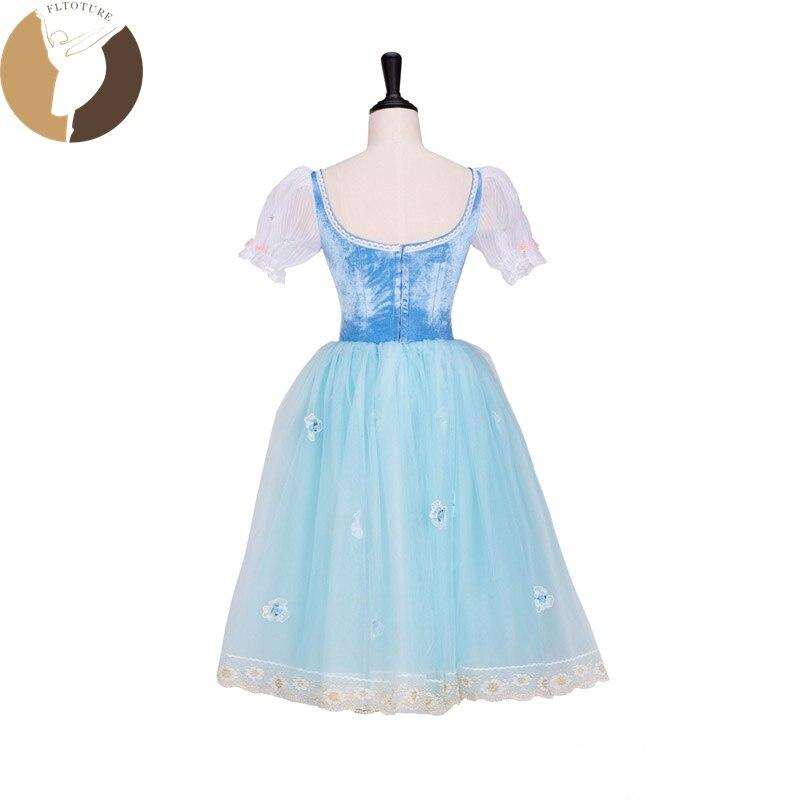 FLTOTURE AT1299 クラシックバレエロングドレスピンク/スカイブルーソフトスカートステージダンス衣装 La Fille Mal Gardee ロマンチックチュチュ  グループ上の ノベルティ & 特殊用途 からの バレエ の中 3