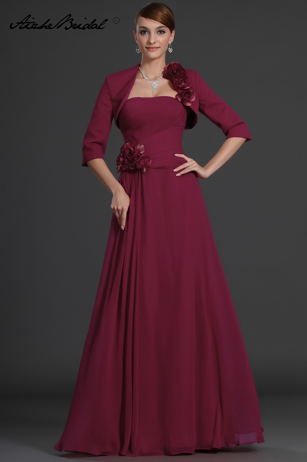 Mother Of The Groom Dresses Elegant A Line Strapless Mother Of The Bride Dress With Jacket Flowers