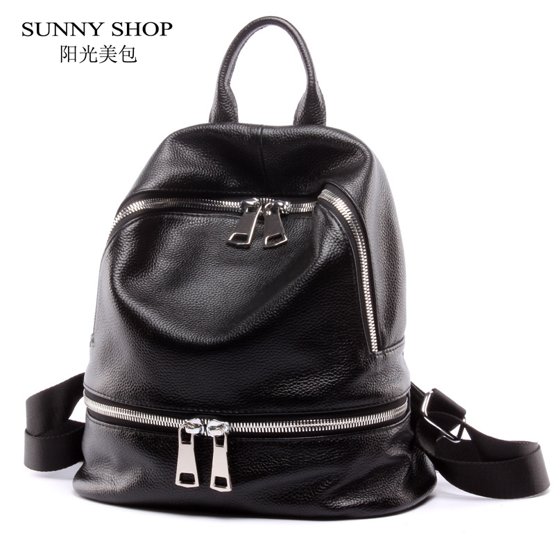 ФОТО SUNNY SHOP 2017 New Luxury Geuine Leather Backpack Casual Couple Backpack High Quality Schoolbag Cowhide Women backpack